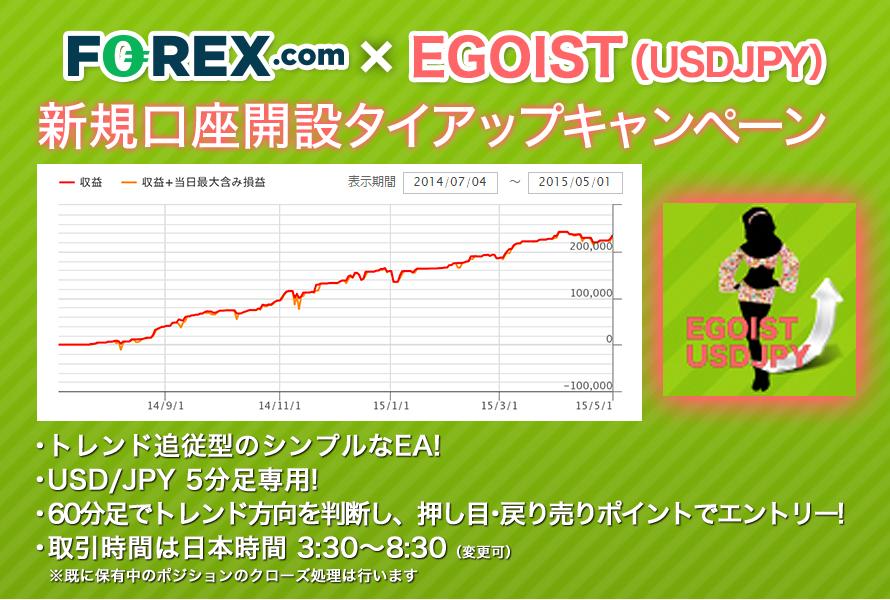 FOREX.com Japan×EGOIST(USDJPY)キャンペーントップ画像