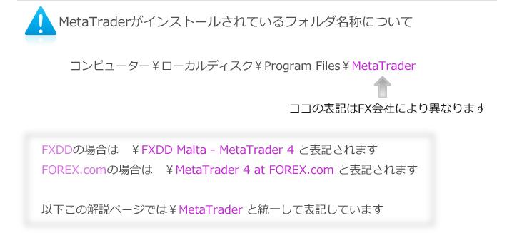 MetaTraderがインストールされているフォルダ名称について