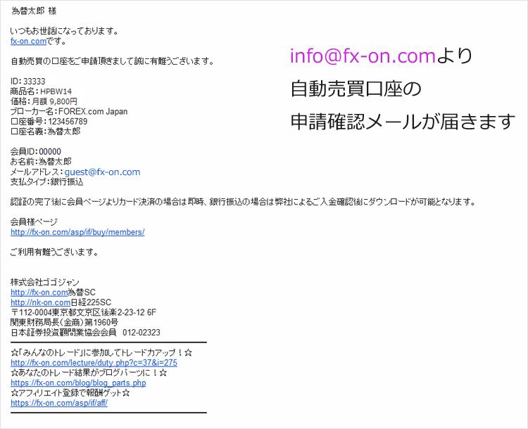info@fx-on.com より口座申請確認メール